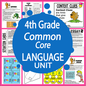 4th Grade Language Unit + Full Color Content Posters