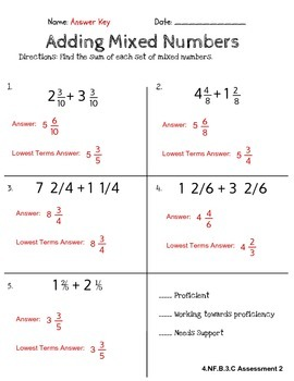 Fourth Grade Common Core Math: Adding Mixed Numbers Assessment (4.NF.B.3.C)