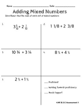 Fourth Grade Common Core Math: Adding Mixed Numbers Assess