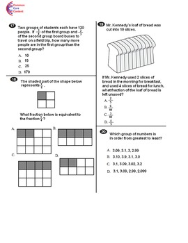 4th Grade Common Core Math Assessment Form B - Mirrors Common Core State Test