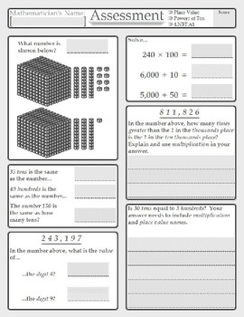 Fourth Grade Common Core Math Assessments: Numbers and Operations in Base Ten
