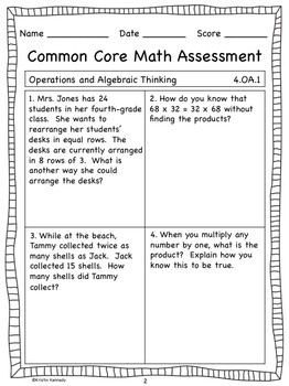 Fourth Grade Common Core Math Assessments (Pre and Post for ALL Standards)