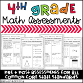 Fourth Grade Common Core Math Assessments (Pre and Post fo