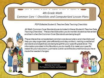 4th Grade Common Core Math Checklists and Drop Down Lesson Plans