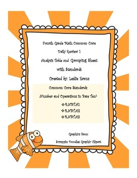 Fourth Grade Common Core Math Daily Review 1 Analysis Sheets