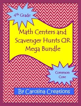 Fourth Grade Common Core Math QR Code Scavenger Hunt and Math Center Mega Bundle