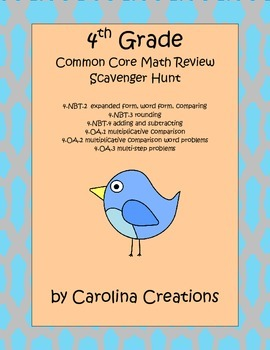 Fourth Grade Common Core Math Review Scavenger Hunt 1