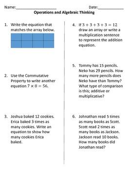 Fourth Grade Common Core Math Standards Assessments Bundle