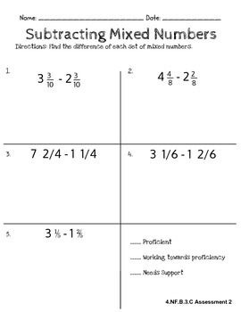 Fourth Grade Common Core Math: Subtracting Mixed Numbers Assessment (4.NF.B.3.C)