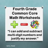 Fourth Grade Common Core Math Worksheets Packet #1