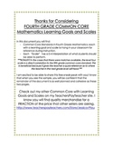 Fourth Grade Common Core Mathematics Learning Goals and Scales