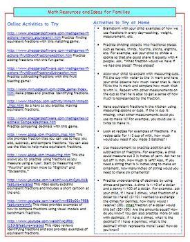 Fourth Grade Common Core Mathematics Newsletters