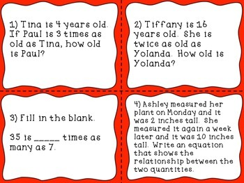4th Grade Common Core Math Task Cards: Using Whole Numbers to Solve Problems