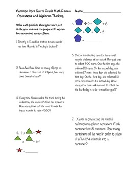 Fourth Grade Common Core Operations & Algebraic Thinking Review