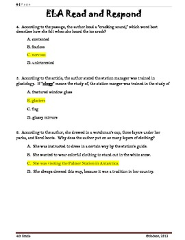 Common Core/PARFourth Grade Common Core:  Read and Respond Practice Assessment 1