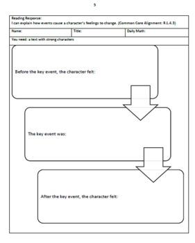 Fourth Grade Common Core Reading Logs, 3