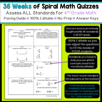 4th Grade Math Spiral Review | 4th Grade Math Homework 4th Grade Morning Work