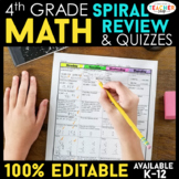4th Grade Math Spiral Review Distance Learning Packet | 4th Grade Math Homework
