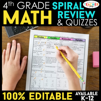4th Grade Math Homework or 4th Grade Morning Work for Daily Math Spiral Review