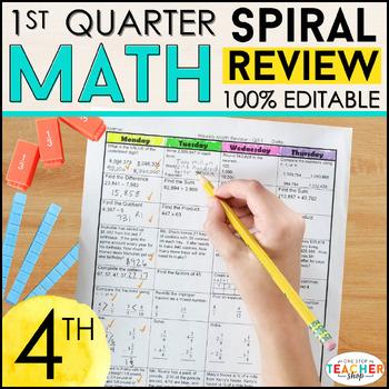4th Grade Math Review | Homework or Morning Work | 1st Quarter