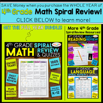 4th Grade Math Homework 4th Grade Morning Work 4th Grade Math Spiral Review FREE