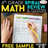 4th Grade Math Spiral Review   2 Weeks FREE