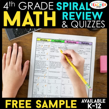 4th Grade Math Spiral Review | 2 Weeks FREE