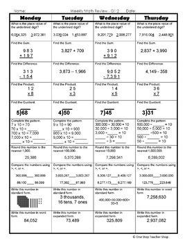 math homework for 4th grade