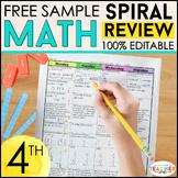 4th Grade Math Spiral Review & Quizzes FREE