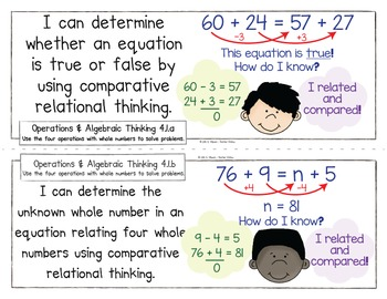 Common Core Standards I Can Statements for 4th Grade - Florida State Additions