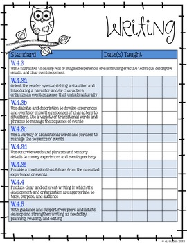 Fourth Grade Common Core Standards Checklist-OWLS!