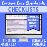 Common Core Checklist - Fourth Grade ELA & Math Bundle