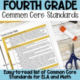 Fourth Grade Common Core Standards List