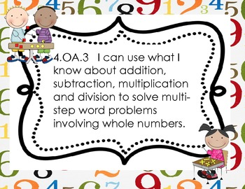 """Fourth Grade Common Core """"Student Friendly"""" Math Posters"""