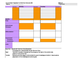 Fourth Grade Common Core Weekly ELA Plan Template