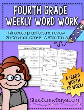Fourth Grade Common Core Weekly Word Work (yearlong pack)