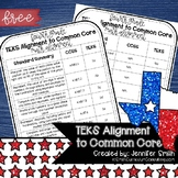 FREEBIE Fourth Grade TEKS Math Standards Alignment