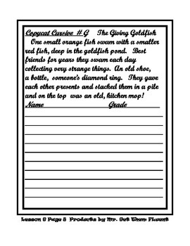 Cursive Writing with Read and Draw Printables Fourth Grade