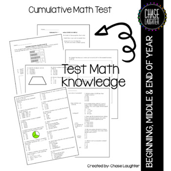 Fourth Grade Common Core Beginning, Middle or End of Year Cummulative Math Test