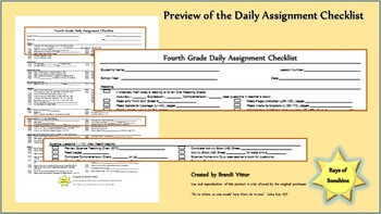 Fourth Grade Daily Assignment Checklist for use with Abeka Curriculum