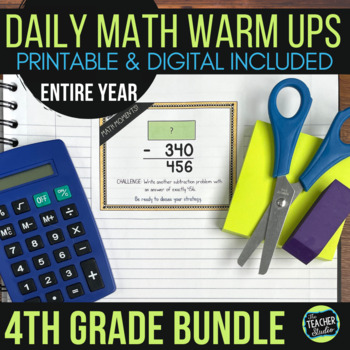 Fourth Grade Daily Math Warm-Ups: YEAR-LONG BUNDLE