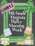 FREE Fourth Grade Daily Morning Work Sample (Virginia)
