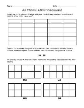 Fourth Grade Decimal Assessment