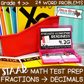 Fourth Grade Decimals to Fractions Math Test Prep Review Game   4th Grade TEKS