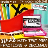 Fourth Grade Decimals to Fractions Math Test Prep Review G