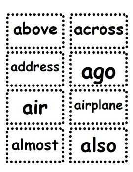 Fourth Grade Dolch Word Card Set