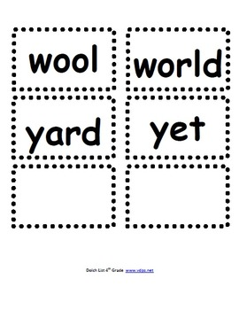 Fourth Grade Dolch Word Card Set
