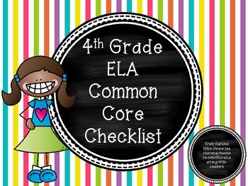 Fourth Grade ELA Common Core Checklist