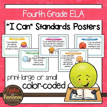 "Fourth Grade ELA Common Core ""I Can"" Posters and Statement Cards"