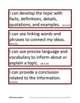 Fourth Grade ELA Common Core Standards (ALL STANDARDS)- Kid Friendly Language